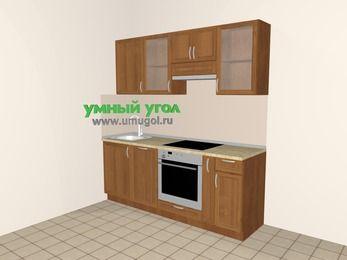Прямая кухня из рамочного МДФ 5,0 м², 2000 мм (зеркальный проект), Орех: верхние модули 720 мм, посудомоечная машина, встроенный духовой шкаф, корзина-бутылочница