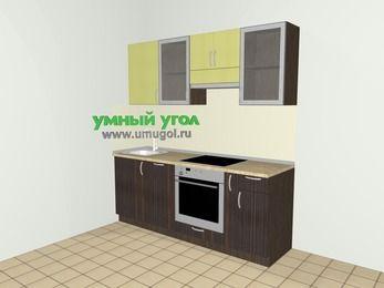 Кухни из пластика 5,0 м², 2000 мм (зеркальный проект), Желтый Галлион глянец / Дерево Мокка: верхние модули 720 мм, посудомоечная машина, встроенный духовой шкаф, корзина-бутылочница