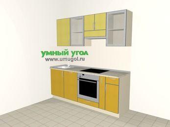 Кухни из пластика 5,0 м², 2000 мм (зеркальный проект), Желтый Альтамир глянец / Желтый глянец: верхние модули 720 мм, посудомоечная машина, встроенный духовой шкаф, корзина-бутылочница