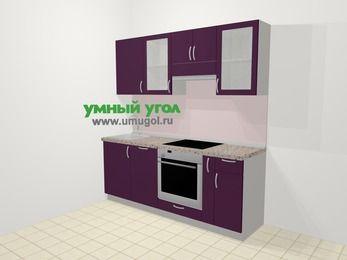 Прямая кухня МДФ глянец в современном стиле 5,0 м², 200 см (зеркальный проект), Баклажан: верхние модули 72 см, посудомоечная машина, встроенный духовой шкаф, корзина-бутылочница