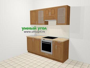 Прямая кухня МДФ патина в классическом стиле 5,0 м², 200 см (зеркальный проект), Ольха: верхние модули 72 см, посудомоечная машина, встроенный духовой шкаф, корзина-бутылочница
