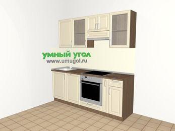 Прямая кухня из массива дерева 5,0 м², 2000 мм (зеркальный проект), Бежевые оттенки: верхние модули 720 мм, посудомоечная машина, встроенный духовой шкаф, корзина-бутылочница