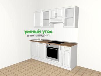 Прямая кухня из массива дерева 5,0 м², 2000 мм (зеркальный проект), Белые оттенки: верхние модули 720 мм, посудомоечная машина, встроенный духовой шкаф, корзина-бутылочница