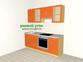 Прямая кухня МДФ металлик 5,0 м², 2000 мм (зеркальный проект), Оранжевый металлик, верхние модули 720 мм, посудомоечная машина, встроенный духовой шкаф