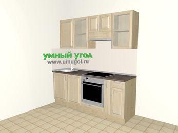 Прямая кухня из массива дерева 5,0 м², 2000 мм (зеркальный проект), Светло-коричневые оттенки: верхние модули 720 мм, посудомоечная машина, встроенный духовой шкаф, корзина-бутылочница
