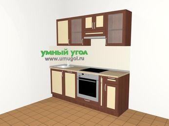 Прямая кухня из рамочного МДФ 5,0 м², 2000 мм (зеркальный проект), Вишня темная / Крем: верхние модули 720 мм, посудомоечная машина, встроенный духовой шкаф, корзина-бутылочница