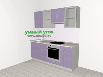 Кухни из пластика 5,0 м², 2000 мм (зеркальный проект), Сиреневый глянец: верхние модули 720 мм, посудомоечная машина, встроенный духовой шкаф, корзина-бутылочница