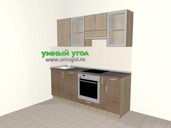 Кухни из пластика 5,0 м², 2000 мм (зеркальный проект), Чибли бежевый / Мокрый зебрано: верхние модули 720 мм, посудомоечная машина, встроенный духовой шкаф, корзина-бутылочница