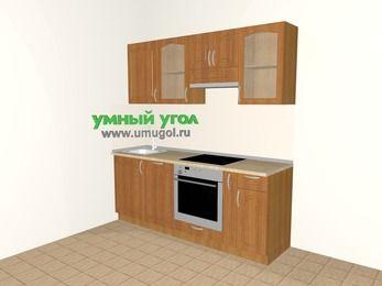 Прямая кухня МДФ матовый 5,0 м², 2000 мм (зеркальный проект), Вишня: верхние модули 720 мм, посудомоечная машина, встроенный духовой шкаф, корзина-бутылочница