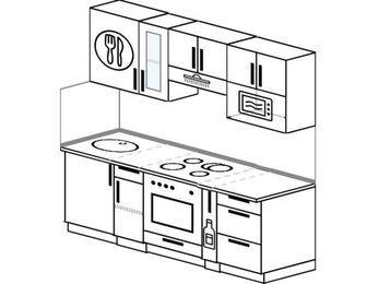 Прямая кухня 5,0 м² (2,0 м), верхние модули 720 мм, модуль под свч, встроенный духовой шкаф