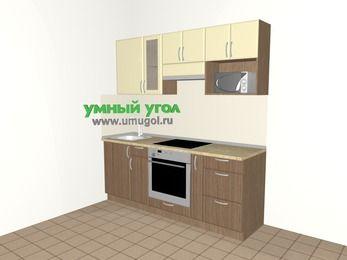 Прямая кухня МДФ матовый 5,0 м², 2000 мм (зеркальный проект), Ваниль / Лиственница бронзовая, верхние модули 720 мм, модуль под свч, встроенный духовой шкаф
