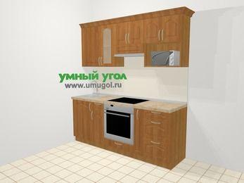 Прямая кухня МДФ матовый в классическом стиле 5,0 м², 200 см (зеркальный проект), Вишня, верхние модули 72 см, модуль под свч, встроенный духовой шкаф