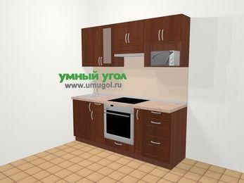 Прямая кухня МДФ матовый в классическом стиле 5,0 м², 200 см (зеркальный проект), Вишня темная, верхние модули 72 см, модуль под свч, встроенный духовой шкаф