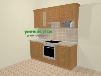 Прямая кухня МДФ матовый в стиле кантри 5,0 м², 200 см (зеркальный проект), Ольха, верхние модули 72 см, модуль под свч, встроенный духовой шкаф