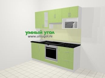 Прямая кухня МДФ металлик в современном стиле 5,0 м², 200 см (зеркальный проект), Салатовый металлик, верхние модули 72 см, модуль под свч, встроенный духовой шкаф