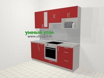 Прямая кухня МДФ глянец в современном стиле 5,0 м², 200 см (зеркальный проект), Красный, верхние модули 72 см, модуль под свч, встроенный духовой шкаф