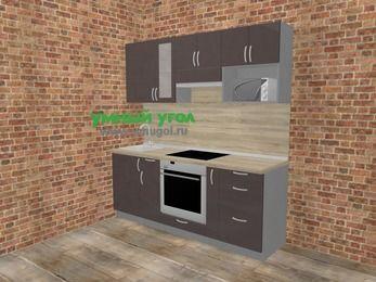 Прямая кухня МДФ глянец в стиле лофт 5,0 м², 200 см (зеркальный проект), Шоколад, верхние модули 72 см, модуль под свч, встроенный духовой шкаф