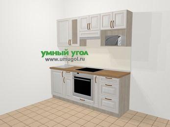 Прямая кухня МДФ патина в классическом стиле 5,0 м², 200 см (зеркальный проект), Лиственница белая, верхние модули 72 см, модуль под свч, встроенный духовой шкаф