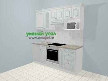 Прямая кухня МДФ патина в стиле прованс 5,0 м², 200 см (зеркальный проект), Лиственница белая, верхние модули 72 см, модуль под свч, встроенный духовой шкаф