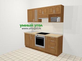 Прямая кухня МДФ патина в классическом стиле 5,0 м², 200 см (зеркальный проект), Ольха, верхние модули 72 см, модуль под свч, встроенный духовой шкаф