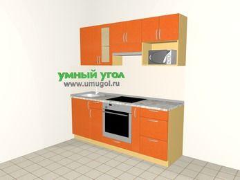 Прямая кухня МДФ металлик 5,0 м², 2000 мм (зеркальный проект), Оранжевый металлик, верхние модули 720 мм, модуль под свч, встроенный духовой шкаф