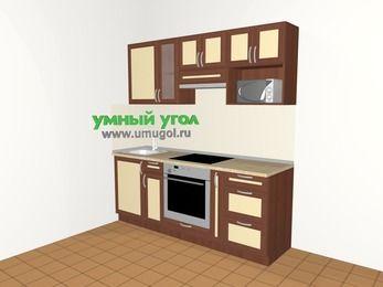 Прямая кухня из рамочного МДФ 5,0 м², 2000 мм (зеркальный проект), Вишня темная / Крем, верхние модули 720 мм, модуль под свч, встроенный духовой шкаф