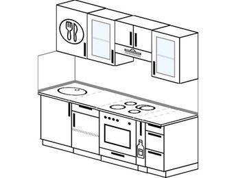 Прямая кухня 5,0 м² (2,0 м), верхние модули 720 мм, встроенный духовой шкаф