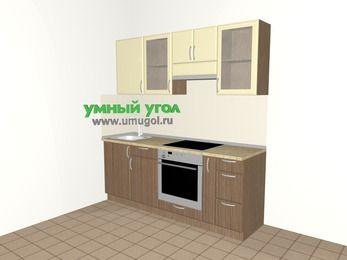 Прямая кухня МДФ матовый 5,0 м², 2000 мм (зеркальный проект), Ваниль / Лиственница бронзовая, верхние модули 720 мм, встроенный духовой шкаф