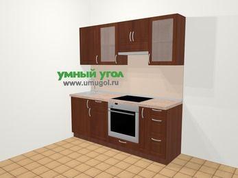 Прямая кухня МДФ матовый в классическом стиле 5,0 м², 200 см (зеркальный проект), Вишня темная, верхние модули 72 см, встроенный духовой шкаф