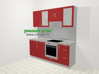Прямая кухня МДФ глянец в современном стиле 5,0 м², 200 см (зеркальный проект), Красный, верхние модули 72 см, встроенный духовой шкаф