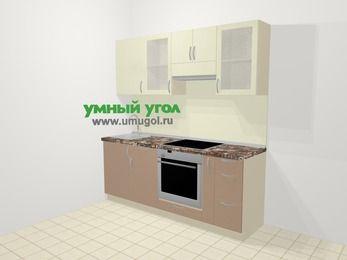 Прямая кухня МДФ глянец в современном стиле 5,0 м², 200 см (зеркальный проект), Жасмин / Капучино, верхние модули 72 см, встроенный духовой шкаф