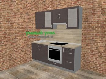 Прямая кухня МДФ глянец в стиле лофт 5,0 м², 200 см (зеркальный проект), Шоколад, верхние модули 72 см, встроенный духовой шкаф