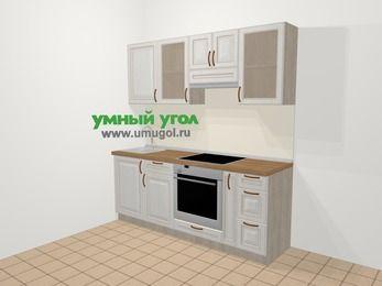 Прямая кухня МДФ патина в классическом стиле 5,0 м², 200 см (зеркальный проект), Лиственница белая, верхние модули 72 см, встроенный духовой шкаф