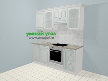 Прямая кухня МДФ патина в стиле прованс 5,0 м², 200 см (зеркальный проект), Лиственница белая, верхние модули 72 см, встроенный духовой шкаф