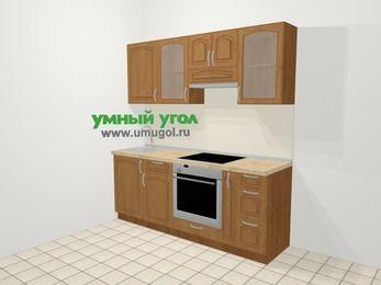 Прямая кухня МДФ патина в классическом стиле 5,0 м², 200 см (зеркальный проект), Ольха, верхние модули 72 см, встроенный духовой шкаф