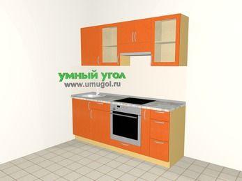 Прямая кухня МДФ металлик 5,0 м², 2000 мм (зеркальный проект), Оранжевый металлик, верхние модули 720 мм, встроенный духовой шкаф