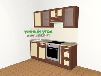 Прямая кухня из рамочного МДФ 5,0 м², 2000 мм (зеркальный проект), Вишня темная / Крем, верхние модули 720 мм, встроенный духовой шкаф