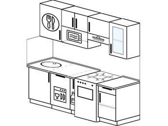 Прямая кухня 5,0 м² (2,0 м), верхние модули 720 мм, посудомоечная машина, модуль под свч, отдельно стоящая плита