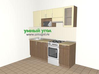 Прямая кухня МДФ матовый 5,0 м², 2000 мм (зеркальный проект), Ваниль / Лиственница бронзовая, верхние модули 720 мм, посудомоечная машина, модуль под свч, отдельно стоящая плита