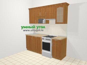 Прямая кухня МДФ матовый в классическом стиле 5,0 м², 200 см (зеркальный проект), Вишня, верхние модули 72 см, посудомоечная машина, модуль под свч, отдельно стоящая плита