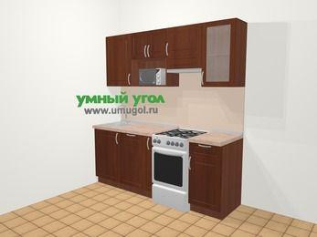 Прямая кухня МДФ матовый в классическом стиле 5,0 м², 200 см (зеркальный проект), Вишня темная, верхние модули 72 см, посудомоечная машина, модуль под свч, отдельно стоящая плита