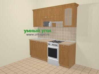 Прямая кухня МДФ матовый в стиле кантри 5,0 м², 200 см (зеркальный проект), Ольха, верхние модули 72 см, посудомоечная машина, модуль под свч, отдельно стоящая плита