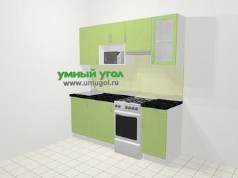 Прямая кухня МДФ металлик в современном стиле 5,0 м², 200 см (зеркальный проект), Салатовый металлик, верхние модули 72 см, посудомоечная машина, модуль под свч, отдельно стоящая плита
