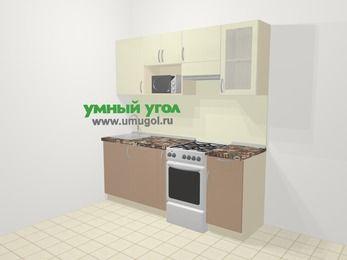 Прямая кухня МДФ глянец в современном стиле 5,0 м², 200 см (зеркальный проект), Жасмин / Капучино, верхние модули 72 см, посудомоечная машина, модуль под свч, отдельно стоящая плита