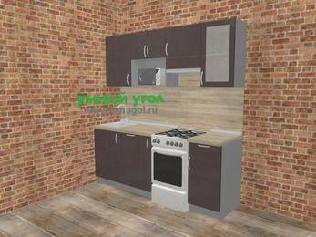 Прямая кухня МДФ глянец в стиле лофт 5,0 м², 200 см (зеркальный проект), Шоколад, верхние модули 72 см, посудомоечная машина, модуль под свч, отдельно стоящая плита