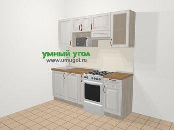 Прямая кухня МДФ патина в классическом стиле 5,0 м², 200 см (зеркальный проект), Лиственница белая, верхние модули 72 см, посудомоечная машина, модуль под свч, отдельно стоящая плита