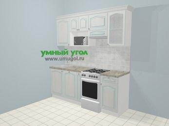 Прямая кухня МДФ патина в стиле прованс 5,0 м², 200 см (зеркальный проект), Лиственница белая, верхние модули 72 см, посудомоечная машина, модуль под свч, отдельно стоящая плита