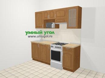 Прямая кухня МДФ патина в классическом стиле 5,0 м², 200 см (зеркальный проект), Ольха, верхние модули 72 см, посудомоечная машина, модуль под свч, отдельно стоящая плита