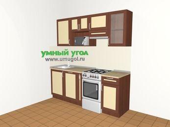 Прямая кухня из рамочного МДФ 5,0 м², 2000 мм (зеркальный проект), Вишня темная / Крем, верхние модули 720 мм, посудомоечная машина, модуль под свч, отдельно стоящая плита
