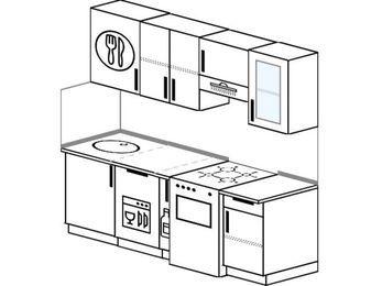 Прямая кухня 5,0 м² (2,0 м), верхние модули 720 мм, посудомоечная машина, отдельно стоящая плита